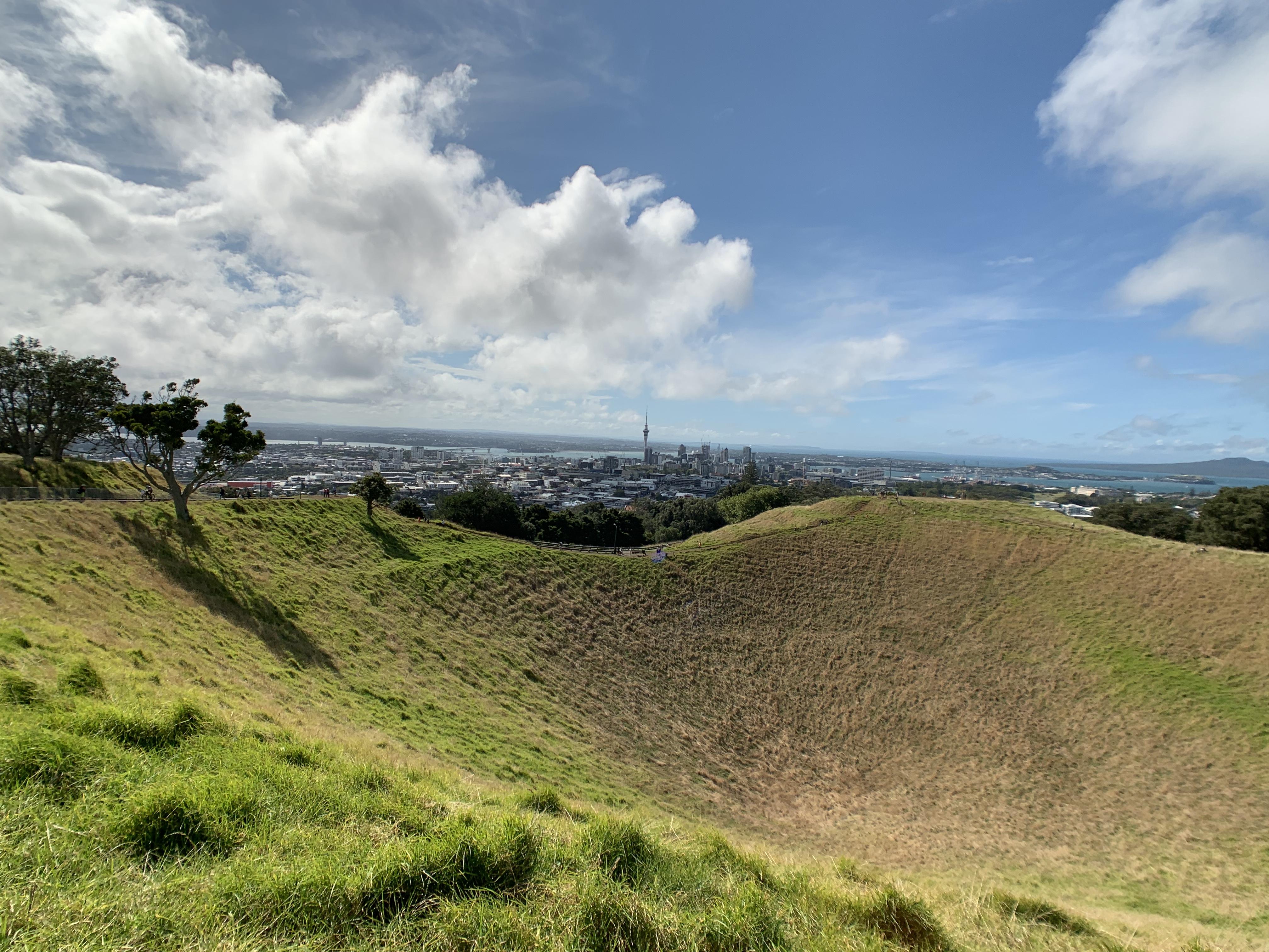 Mount Eden is an old volcanic peak in Auckland, New Zealand.
