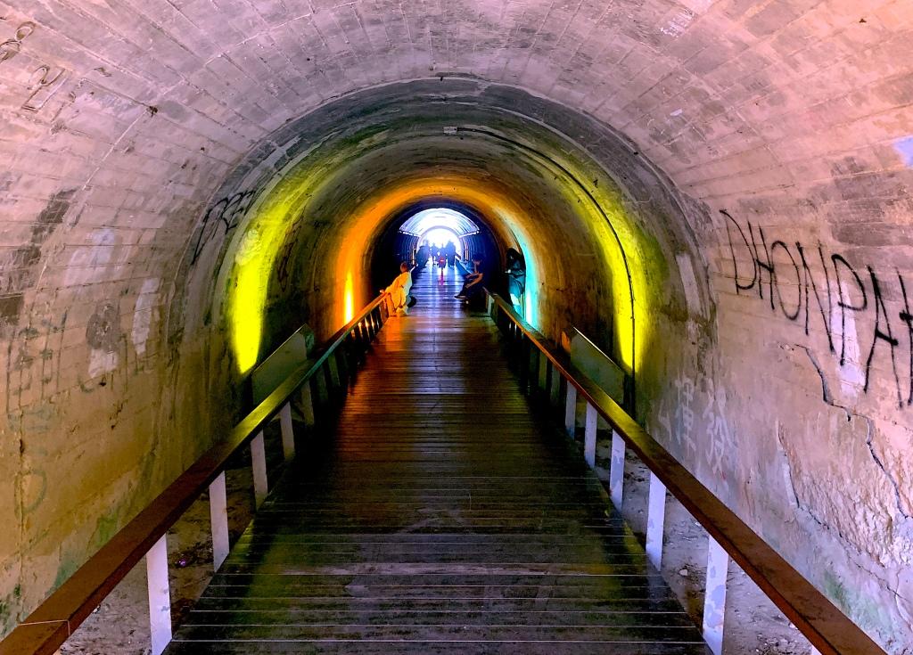 View looking down the Star Tunnel on Cijin Island, Kaohsiung, Taiwan.